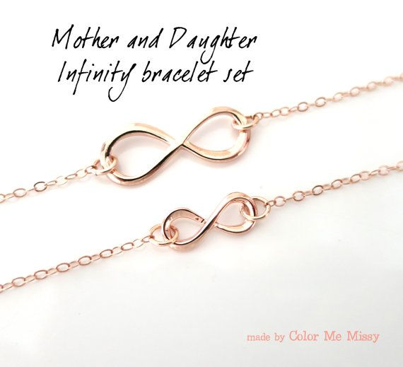 Mother Daughter Infinity Bracelet Set Rose Gold Charm Filled Forever Love Mom Mum Children B0006rg In 2018