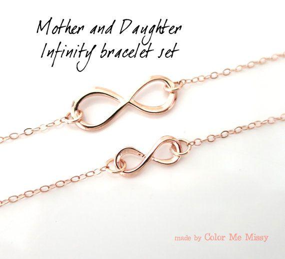 Mother Amp Daughter Infinity Bracelet Set Rose Gold Gift