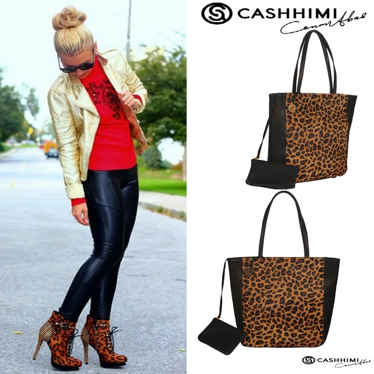 Cashhimi Brown Leopard SANTA BARBARA Leather Clutch