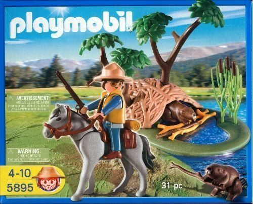 Playmobil 5895 Park Ranger at Beaver Den by Playmobil. $39.99. Beaver Den, Water, Trees  and 2 Beavers. Horse with pack and gear. 31 Pieces. Rifle, saddle, pack, walking sticks. Park Ranger. Adventure Series Playset