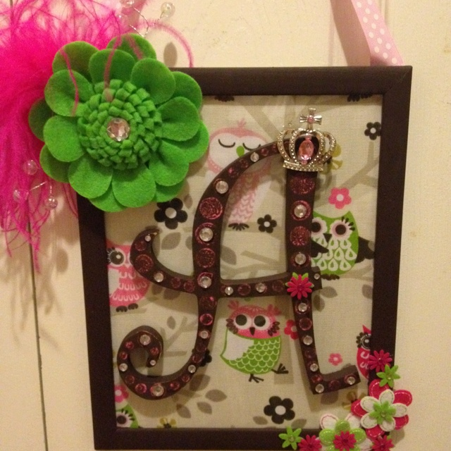 Initial plaque....super easy! Dollar store frame (painted) then you can use scrapbook paper or fabric (as seen here) for background. Initial from craft store; I just painted & distressed with sandpaper for character, then embellished with gems. Glue initial to outside of glass. Staple a strip of coordinating ribbon to back of frame for hanging. Embellish frame, if desired.