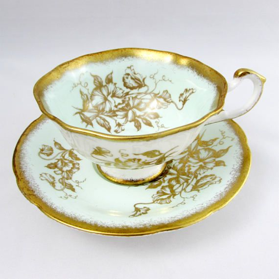 Paragon Tea Cup and Saucer, Pale Blue with Gold Sweet Pea Flowers, Thick Gold Trim, Vintage Tea Cup, Bone China
