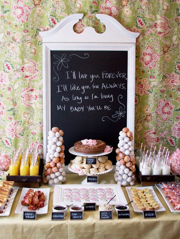 Baby girl showerShower Ideas, Donuts Hole, Chalkboards, Brunches Ideas, Chalk Boards, Parties Ideas, Baby Shower Brunches, Brunches Parts, Baby Shower