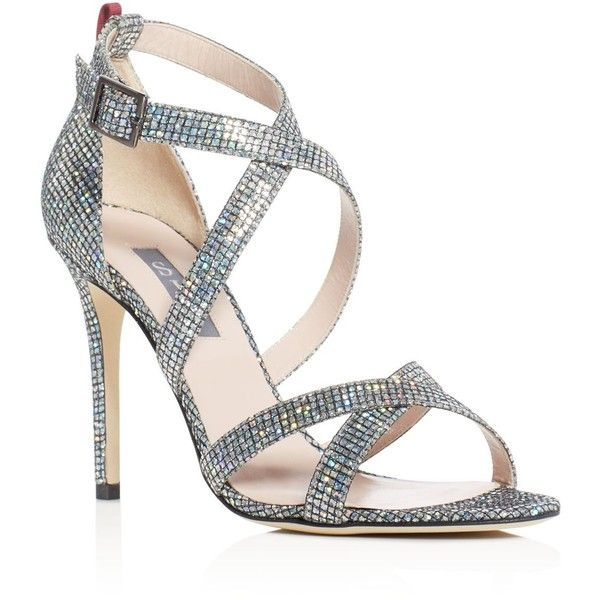 Sjp by Sarah Jessica Parker Strut Glitter Strappy Sandals ($295) ❤ liked on Polyvore featuring shoes, sandals, silver, strappy sandals, strap shoes, silver strap shoes, sjp and silver strappy shoes