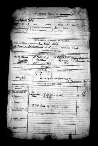 Knighton, Edith (1877-1966) 1st cousin of wife of step great-uncle of 3rd great-uncle   British Army WWI Service Records, 1914-1920 Military  Marriage25 Oct 1896 - Battersea NameEdith Louisa Knight Residence1916 - 15 Barmore St, Battersea SpouseRobert Cobb