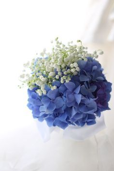 スズランとアジサイのブーケ 山の上ホテル様へ : 一会 ウエディングの花
