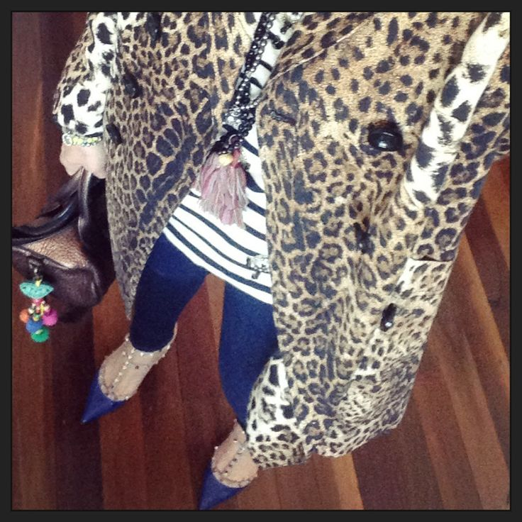 Valentino Rockstud shoes, Alexander Wang Rocky Bag, JCrew striped beaded top, JBrand jeans, Animal Print Trench Coat