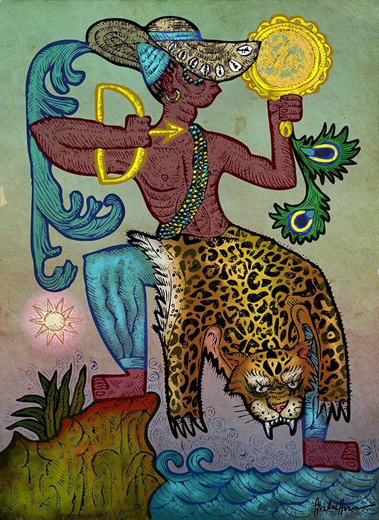 """Longun Edé - Logun Edé é único, ele é um Orixá metá, ou seja, congrega três energias: de Oxun, de Oxóssi e dele mesmo, domina o poder de mutação e transforma-se no que ele quiser, e um dos seus Orikís nos diz:  """"Ológun fihòn awo  funfun lóni ni òlá  Ó yióò fihón dúdú…""""  ( O feiticeiro mostra a pele que desejar; se mostrar a pele clara hoje, amanhã mostrará a pele escura) - Direitos autorais André Hora 2014"""
