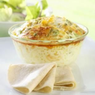 Mini Chile Relleno Casseroles     *  2 4-ounce cans diced green chiles, drained and patted dry     * 3/4 cup frozen corn, thawed and patted dry     * 4 scallions, thinly sliced     * 1 cup shredded reduced-fat Cheddar cheese     * 1 1/2 cups nonfat milk     * 6 large egg whites     * 4 large eggs     * 1/4 teaspoon salt