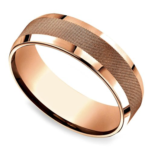 cross hatch mens wedding ring in rose gold - Rings Wedding