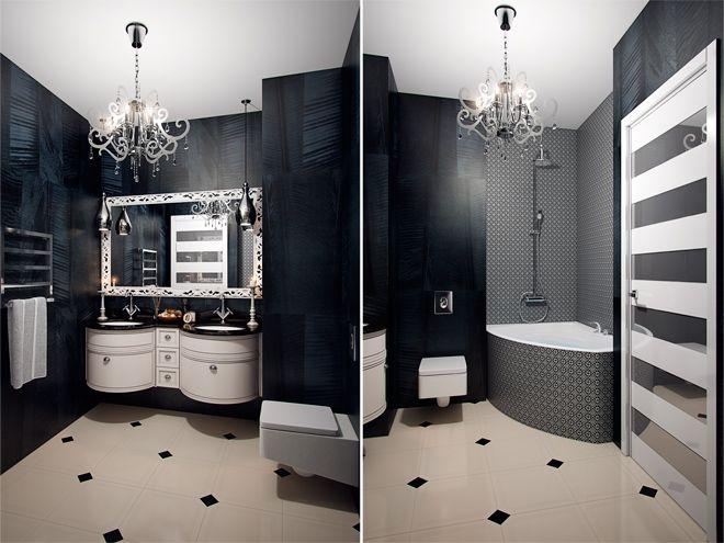 Ванная комната. Дизайн интерьера трехкомнатной квартиры в современном стиле в ЖК «Ленинградские вечера»