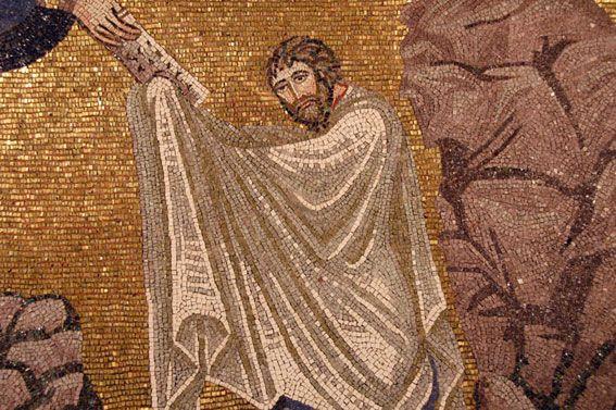 """Monastero di Santa Caterina, Sinai, Egitto. Il mosaico """"Trasfigurazione"""". 557-560. Il periodo di Giustiniano. Il Monastero di Santa Caterina sul Monte Sinai, vera roccaforte dell'ortodossia, fu fondato da Giustiniano intorno al 557."""