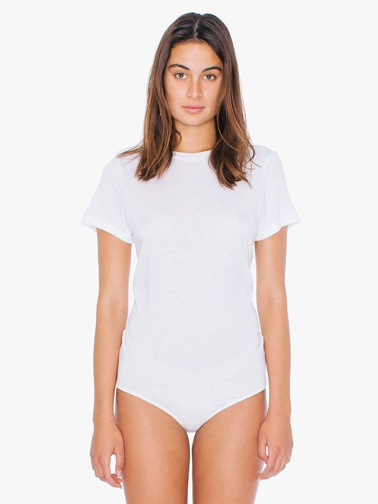 Short sleeve bodysuit with a high neckline, relaxed fit and T-shirt design. Features snap closure for easy on and off.