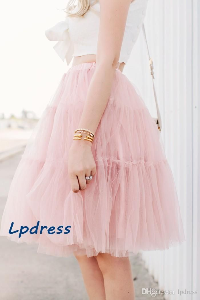 Pearl Pink Skirts Ball Gown Knee-Length Pleats Tulle with Lining Eye Catching Fashion Design Elastic Waist Skirts Custom Made Royal Blue Skirts Women Skirts High Waist Skirts Online with $59.0/Piece on Lpdress's Store | DHgate.com