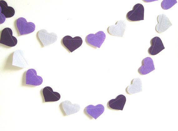 Purple feutre décoration de partie anniversaire guirlande, gris ombre pourpre, violet gris feutre bannière de coeurs, décor de pépinière, Photo prop