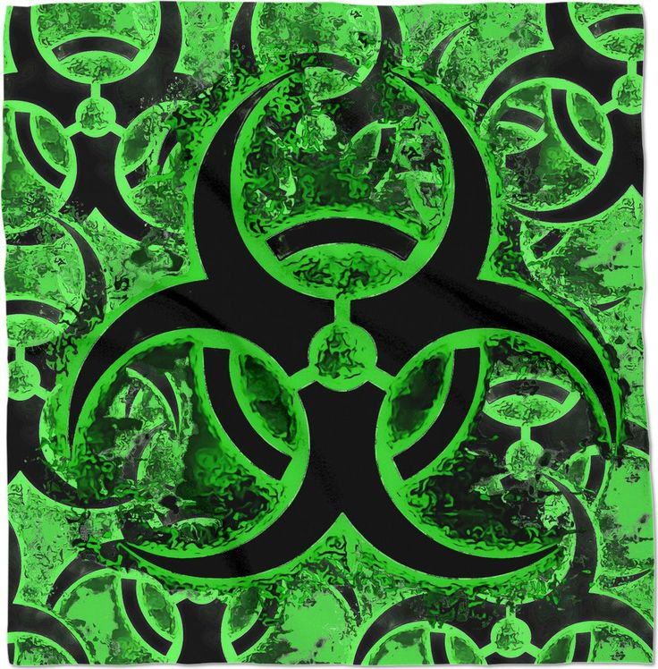 Green and black biohazard sign, bio waste, toxic fallout sign, symbol bandana design - item printed by www.rageon.com/a/users/casemiroarts - also available at www.casemiroarts.com