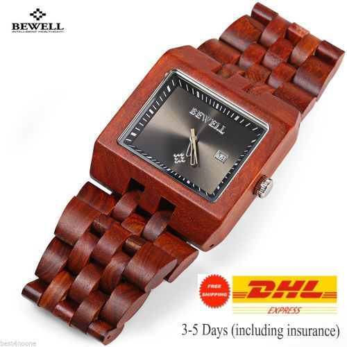 Mens-Style-Wood-Watch-Waterproof-Rectangle-Date-Display-Black-Dial-Watch-For-Men