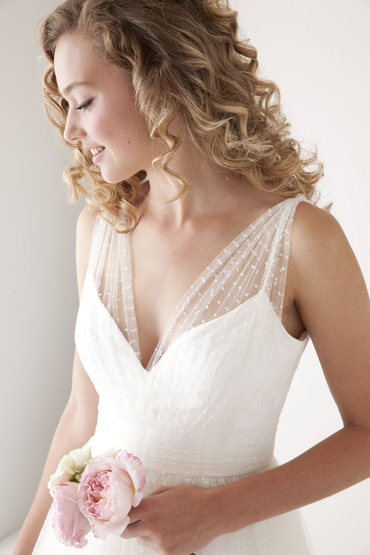 Lovely, flowy Swiss dot...  wedding dress - Enchanting by Astrid & Mercedes