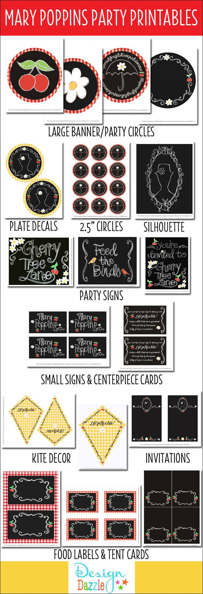 Mary Poppins Party Printables Package