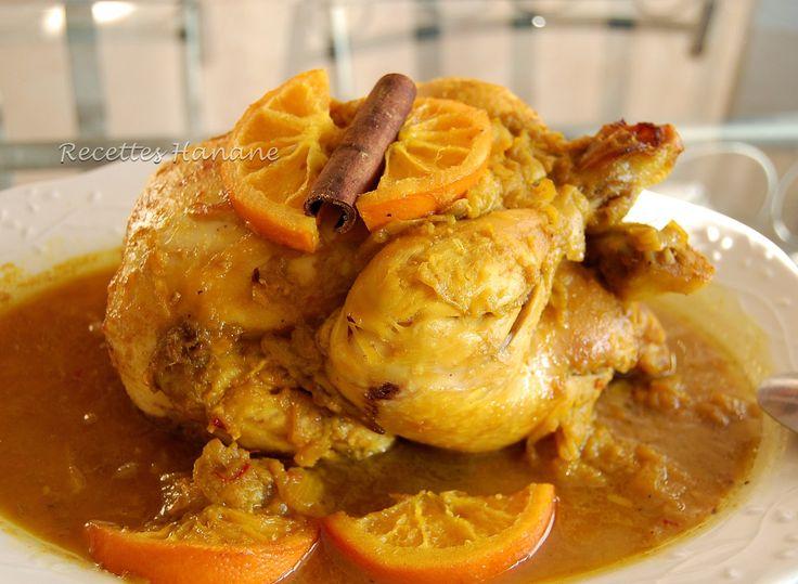 Un plat épicé et bien parfumé... orange, miel, safran et cannelle, des saveurs et des couleurs chaleureuses qui font voyager... ingrédients: 1 poulet de 1,5 kg 3 oignons de l'huile d'olive une dose de safran pur (ici clic) 2 bâtons de cannelle 1 cuil....