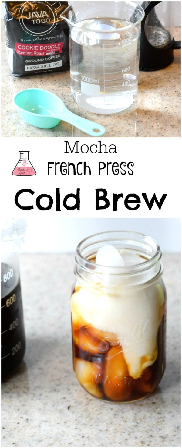 Mocha French Press Cold Brew Coffee recipe plus chemist tips to make the perfect cold brew! on chemistrycachet.com