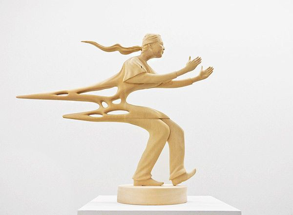 Best Sculpture Bois Images On Pinterest Wood Sculpture Art - Taiwanese artist creates wooden sculptures that look like digital glitches