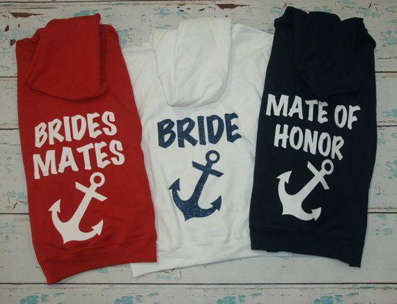 4 Anchor Bridesmaids Zip-Up Hoodie Jackets. by BrideAndEntourage