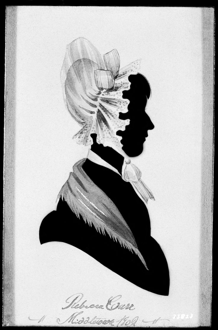 "American School (19th century), ""Rebecca Carr,"" 1820. Paper silhouette, cut out and pasted on black cloth, 5 1/2 x 3 1/2 in. Photographed in November 1940 at Monmouth County Historical Association, Freehold, New Jersey. The Frick Collection / Frick Art Reference Library Photoarchive. #silhouettes #fricklibrary #bonnets"