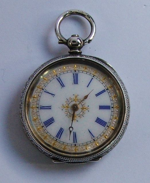 Fine antique Swiss solid silver fob pocket watch.Blue numerals & gilt decoration