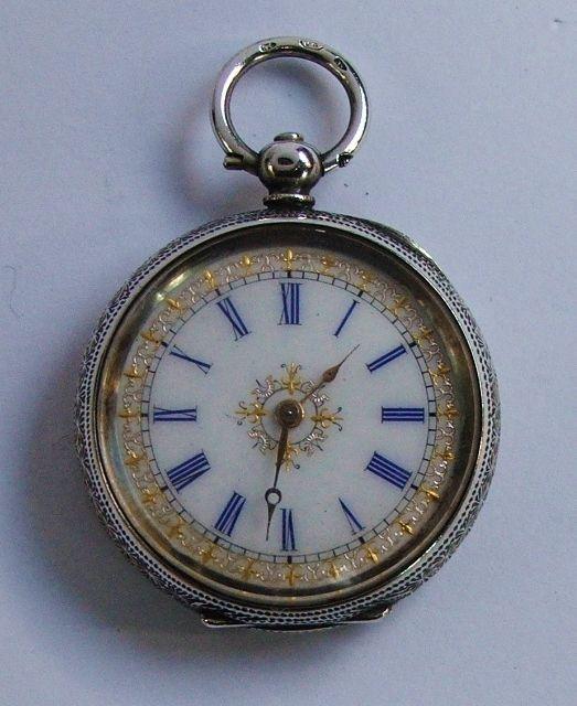 Fine antique Swiss solid silver fob pocket watch.Blue numerals & gilt decoration