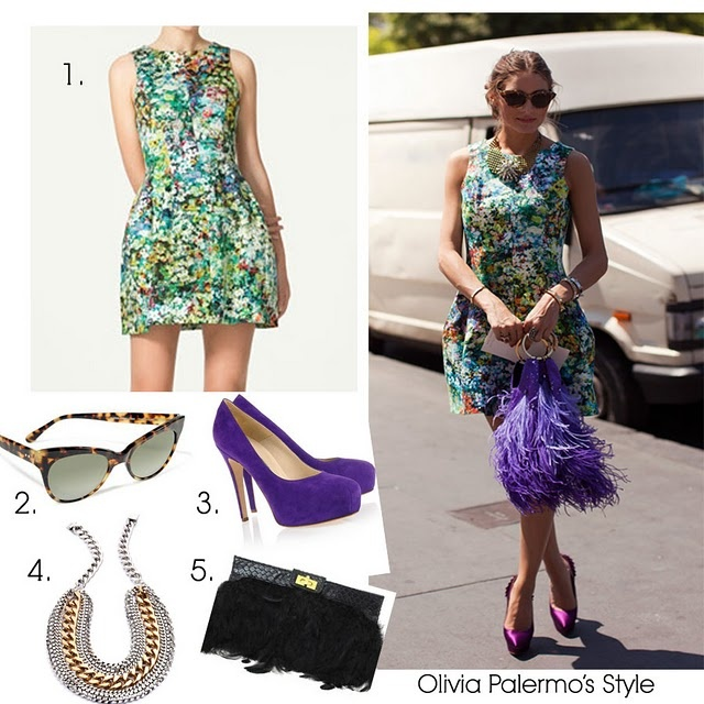 Olivia Palermo is one of my style icons (seen here, here and here). Her ability to mix high and low pieces appears effortless and yet is always on trend. She doesn't need layers or designer names to look stunning. Her style is feminine and fun--exactly what I strive for.   1. Zara Tulip Skirt Dress 2. Norma Kamali Square Cat Eye Leopard Sunglasses  3. Brian Atwood Platform Pumps  4. Dannijo Audrey Necklace  5. Asos Feather Clutch