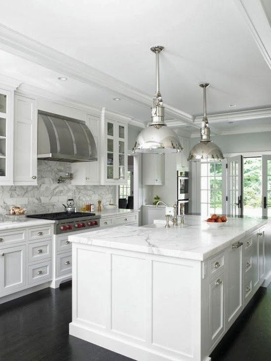 White Kitchen all white kitchen with black floor white scullery type cabinets mingle with glossy white subway tiles marble countertops and stainless steel appliances to Big News About Our Little House Classic White Kitchenkitchen