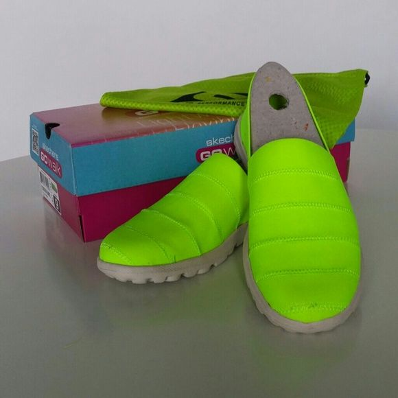Neon Lime Sketchers Go Walk Oasis Never worn, new with tags, box and dust bag included.  ❌ Sorry, no trades. Skechers Shoes