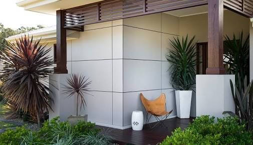balinese house facade - White sycon cladding