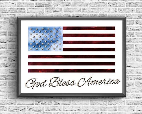God Bless America  Stars And Stripes Print  Patriotic Wall