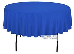 TEKTRUM 90 INCH ROUND POLYESTER TABLECLOTH - THICK/HEAVY DUTY/DURABLE FABRIC - BLUE COLOR - Visit to see more options