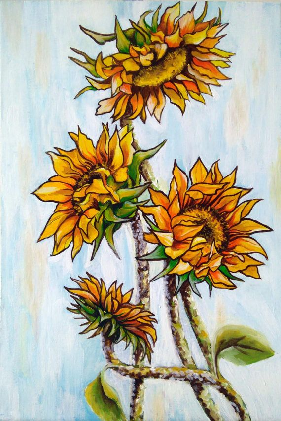 Flower painting Sunflowers original acrylic by PaintingByAHeart