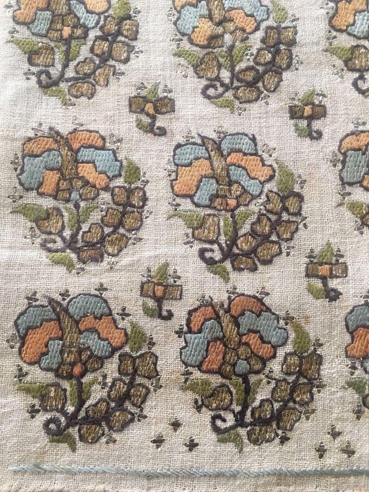 Antique Ottoman-Turkish Silk & Metallic Hand Embroidery On Linen Double Sash