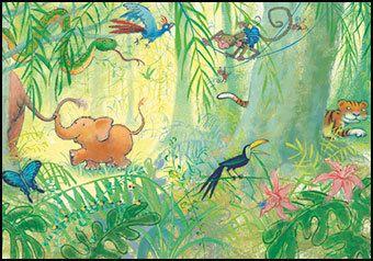 """Ansichtkaart Olifantje in het bos laat je mama's staart niet los  Kinderkaart kinderliedje Illustratie uit """"Op een grote padenstoel"""" van Mies van Hout."""