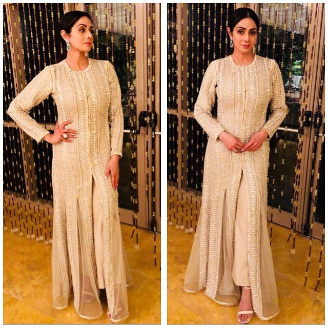 @sridevi.kapoor looks super chic in a @farazmanan couture number at a family wedding #farazmanan #farazmanandubai #hautecouture #sridevi #sridevikapoor styled by @tanghavri