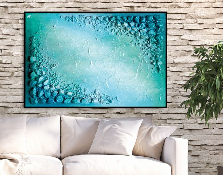 Turn your wall into a focal point! Teal print decor by FraBor Art.