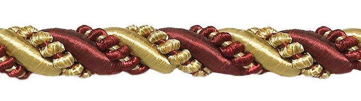 """27 Yard Roll Large Burgundy Red, Gold 7/16"""" Imperial II Decorative Cord Without Lip Style# 716I2 Color: BURGUNDY GOLD - 1253 (25 Meters / 81 Ft.)"""