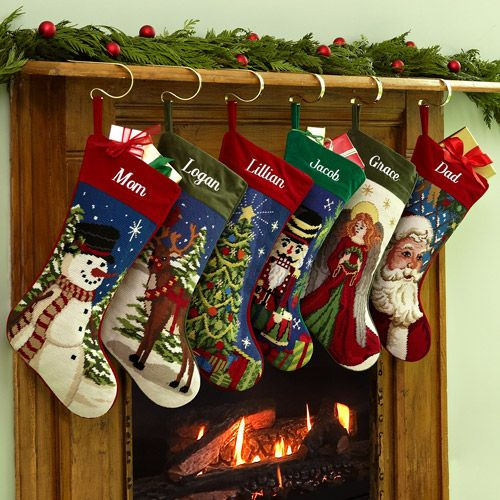 Vintage Needlepoint Christmas Stockings
