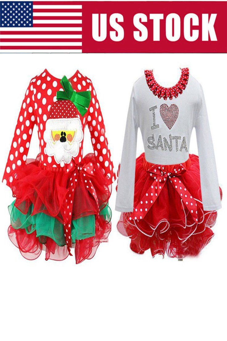 df369dd2e412 8.36 | Girls Christmas I Love Santa Holiday Tutu Skirt Dress Toddlers Kids Xmas  Clothes ❤ #girls #christmas #love #santa #holiday #tutu #skirt #dress ...