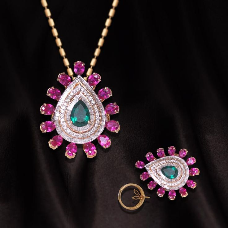 Diamond Jewelry - Everyday wear - Pink     Call us NOW for Diamond Jewelry, Designer Jewelry, Bridal and Semi - Bridal Jewelry on 0124 4200 0518 or walk in our showroom in Gold Souk Mall,Gurgaon