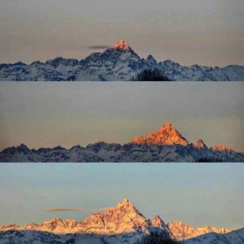 Sorgere del sole sul Monviso