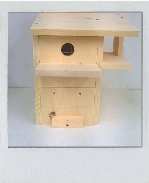 Todas las cajas nidos y comederos son construidos y enviados dentro de 14 días a través de UPS. No podemos enviar alimentadores y cajas a las cajas del PO de anidación debe proporcionar una dirección física. -Fabricado en 3/4 pino sin terminar -Los agujeros de drenaje flujo en lados y la parte inferior de aire -3 entrada orificio de orificio de entrada está ahora en la parte posterior -Puerta frontal para facilitar la limpieza -Porche -Porche -Agarre las tiras en tres lados para escalada...