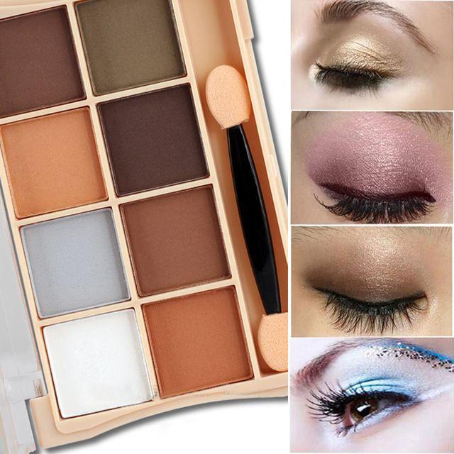 Maquillaje de la marca Maquiagem 8 Colores de Sombra de ojos Sombra de Larga Duración Brillo Kit De Sombras De Ojos Mate Sombra de Ojos
