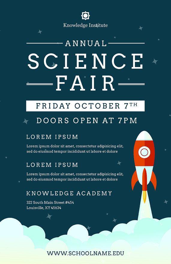 Diy Printable School Science Fair Flyer Template Word Flyer Etsy Science Fair Event Flyer Templates Event Flyer