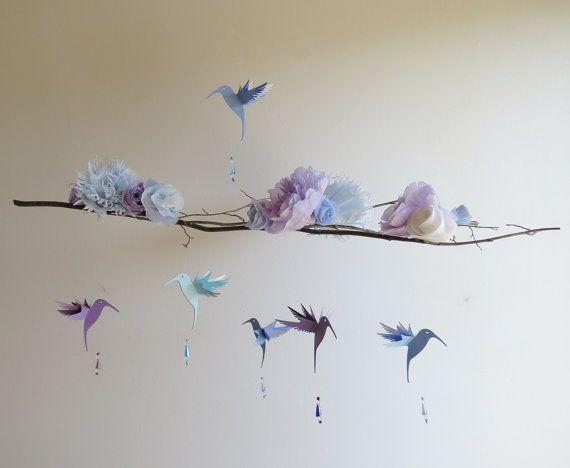 Flower Hummingbird Mobile Handmade paper by EnchantedPendulosity